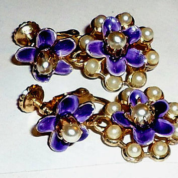 Vintage Screw Back Earrings Purple Enamel Flowers Seed Pearls Forgetmenots Estate Jewelry