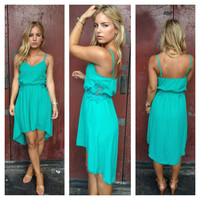 Teal Crochet Side Hi Low Dress