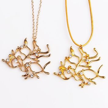 Beauty and the Beast Necklace Gold Silver Tree Twig Branch Necklaces Pendants Fashion trend jewelry