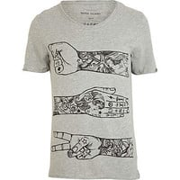 Grey tattoo arm print t-shirt