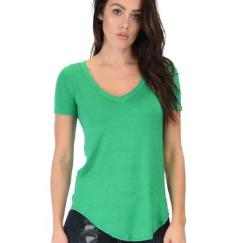 Lyss Loo Truly Madly Deep-V Neck Green Tunic Top