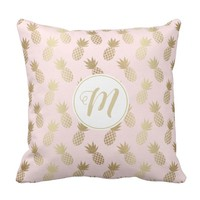 Gold Pineapple Pattern and Monogram Throw Pillow