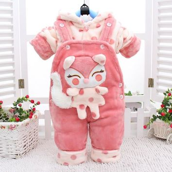 Newborn Baby Boys Girls Down Sets 2018 New Winter Casual Fox Overalls Velvet Thickening Down Sets Baby Boys Girls Clothes 4cs081