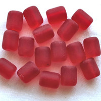 17 cherry red faux sea glass barrel beads, round short tube beads, 10 x 8mm opaque frosted. satin, matte glass beads C0701