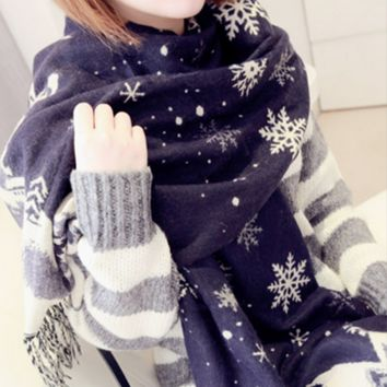 Navy Blue Snowflake Winter Warm Knit Scarf Soft Shawl