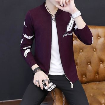 2017 Autumn New Trand Men's Casual O-neck Cardigan Long Sleeve Zipper Male Sweater Solid Print Feather Fashion 4 Colors Coat