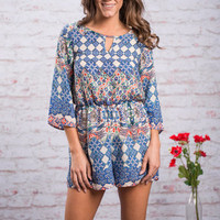 Just Checking Romper, Royal Blue