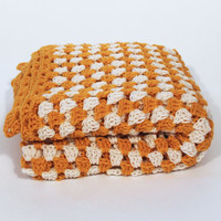 Afghan Crochet Blanket - Yellow and White Granny Square Full Large
