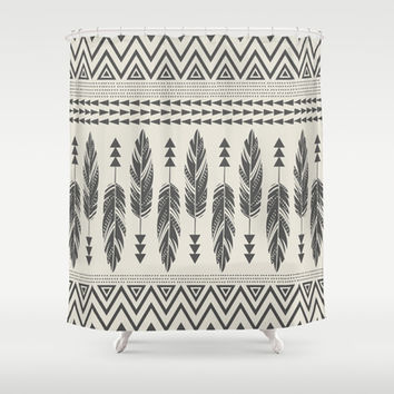 Tribal Feathers-Black & Cream Shower Curtain by Bohemian Gypsy Jane | Society6