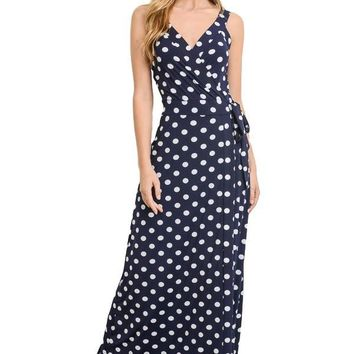 Gilli Women's Sleeveless Faux Wrap Patterned Stretch Knit Maxi Dress