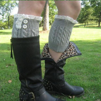 Women's Lace Boot Cuffs with buttons leg warmers