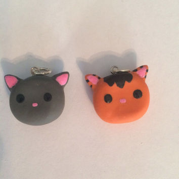 Polymer clay kitten charm