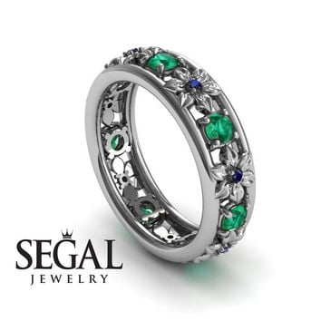 Anniversary ring 14K White Gold Flowers Vintage Green Emerald And Sapphire - Victoria