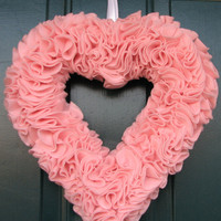 Pink felt ruffle heart wreath - perfect for Valentines Day