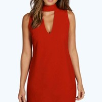 Sia High Neck Plunge Cut Away Shift Dress