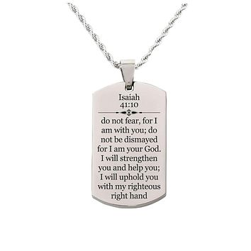 Solid Stainless Steel Scripture Tag Necklace  - Isaiah 41:10