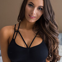Never Forget You V Chest Strap Criss Cross Back Bralette (Black)