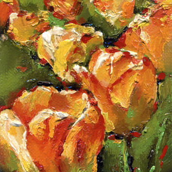 "Artist Trading Card, ACEO Original oil painting, flower, ""Orange Tulips"", paper"