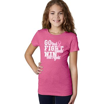 Girls Breast Cancer T-shirt Go Fight Win