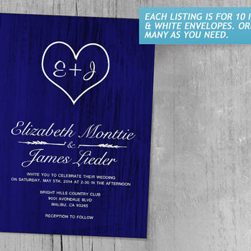 Royal Blue Country Wedding Invitations | Invites | Invitation Cards