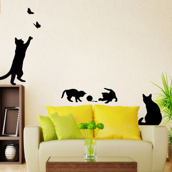Playing Cat Vinyl Decal Set