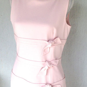Soft Powder Pink Sheath Dress/ Spring Midi Sundress. KneeLength Wiggle w. Bows. Pastel Wedding Party. Mod Cocktail Party. Easter Dress/ sz 6