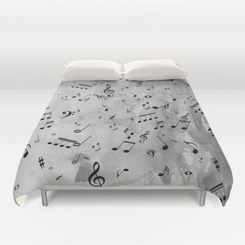 Gray Music Duvet Cover - Music notes with watercolor gray grey  design, bedroom linens, musician, singer, composer, music teacher