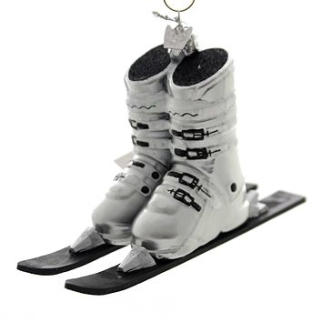 Noble Gems SKI BOOTS WITH SKIS Glass Winter Sport Nb1016 Silver