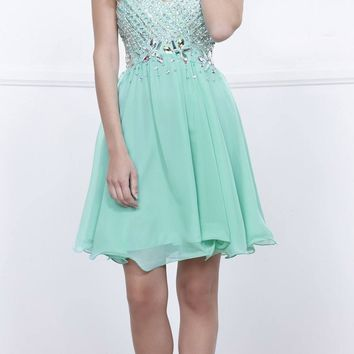 Short Strapless Homecoming Dress Sweetheart Neckline Mint Green