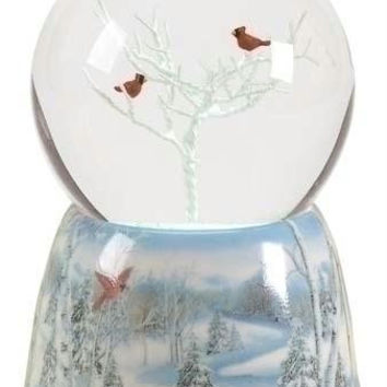 Christmas Snow Globe - Winter Scene And Cardinal Musical