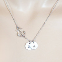 Personal, 1-5, Letter, Initial, Disc, Sideways, Anchor, Nautical, Gold, Silver, Necklace, Custom, Hand stamped, Initial, Gift, Jewelry