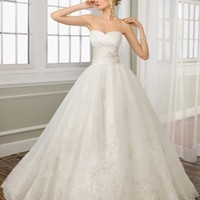 Hot Sell Ball Gown Strapless Organza Wedding Gown Bridal Dress With Applique And Beads