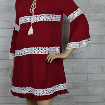 Burgundy Envy Lace Striped Shift Dress-Entro-Burgundy