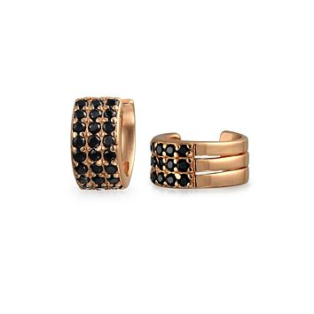 Black CZ Cartilage Ear Cuff Earring Rose Gold Plated Sterling Silver