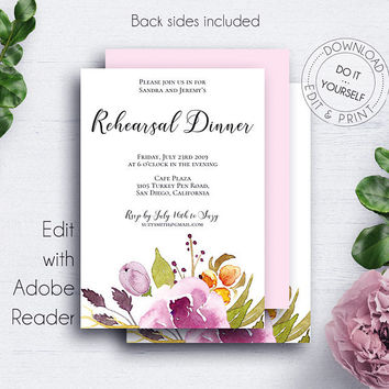 Marsala Floral Wedding Invite, Rose, Editable, DIY Wedding Template, Rehearsal Dinner, Modern Rehearsal, The Last Night, Invitations