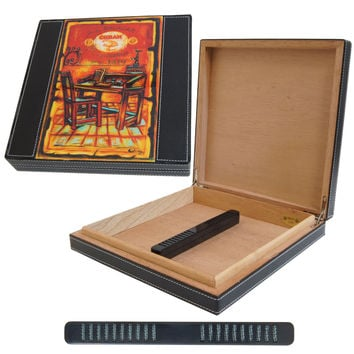 J.L. Salazar Roller Table Leather Cigar Humidor for 10 Cigars