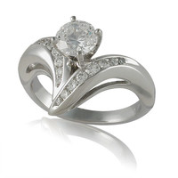Vivadore Contemporary Channel Set 18K White Gold/Palladium Mixed Diamond Engagement Ring