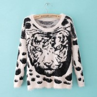 Long Sleeve Tiger Leopard Pattern Sweater Beige