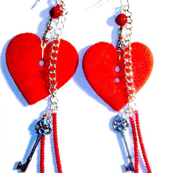 "Earrings ""Key To My Heart"" Felt Button with Key ,Seed Bead, Silver plated Chain and Coral"