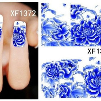 Fashion DIY Stereoscopic 3D Nail Stickers 10 Kinds Of Styles Flowers Nail Full Wrap Decals Girl Nail Art Stickers Nail Tools Nail Art Decorations (XF1372-XF1382 11 Color Options)