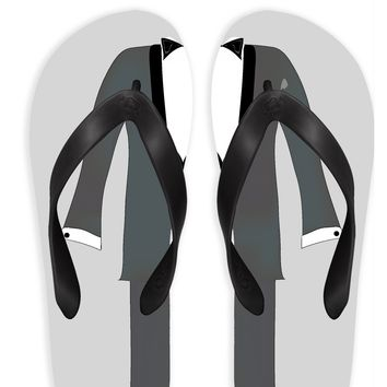 Groom with Gray Background Flip Flops