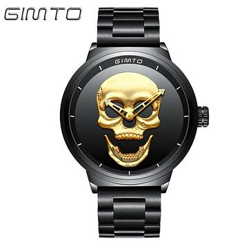 Skull Watches GIMTO Pirate Skeleton Skull Quartz Men Watches Luxury Waterproof Full Steel Men Wristwatch Sport Relogio Masculino