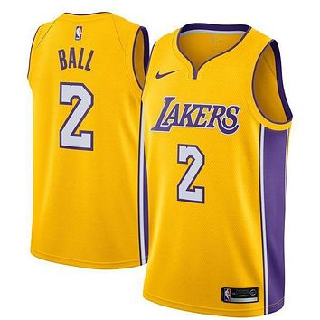 Lonzo Ball Los Angeles Lakers # 2 Nike Yellow Swingman Icon Edition Jersey