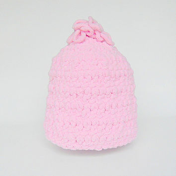 Light Pastel Pink Toddler  Girl  Hat 12 To 24 Months  Infant  Fall Beanie Baby  1 To 2 Years  Old Crochet Fleece Like Yarn Winter Cap