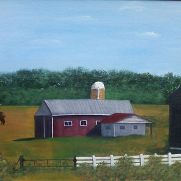 Farm Barn Elk Canvas Painting Frenchville Pa