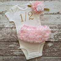 "Gold 1/2 Birthday Onesuit CAKE SMASH OUTFIT Baby Girl 1/2 Birthday Photo Prop 6 months Birthday ""1/2"" Bodysuit Gold Pink White Headband"
