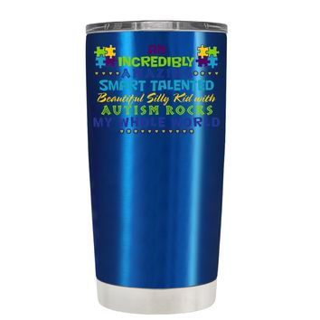 TREK An Amazing Smart Talented Kid with Autism on Translucent Blue 20 oz Tumbler Cup
