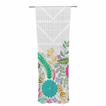 "Famenxt ""Floral Geometric Pattern"" Gray Multicolor Floral Geometric Illustration Digital Decorative Sheer Curtain"