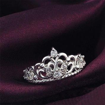 CREYXF7 Women Princess Silver Plated Crown Ring Wedding Engagement Ring Jewelry Size 6-9