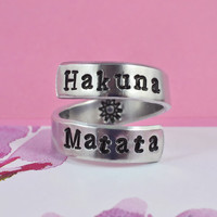 Hakuna Matata - Hand Stamped Spiral Ring, Pure Aluminum Ring, Personailzed Ring, Lion King Inspired